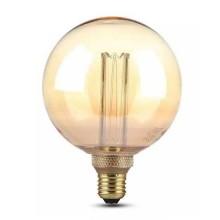 V-Tac VT-2195 Lampadina LED globo 4W E27 G125 vetro ambra con incisioni laser filamento bianco caldo 1800K - 7475