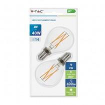 V-Tac VT-2184 Blister pack 2pcs 4W led bulb mini globe smd cross filament E14 warm white 2700K - SKU 7366