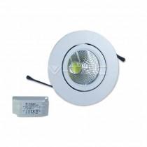 Faretto incasso LED PKW tondo 3W 40° COB Mod. VT-1104 RD SKU 118 luce bianco freddo