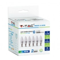 KIT Super Saver Pack V-TAC VT-2246 6PCS/PACK Ampoule LED bougie 5,5W E14 blanc chaud 2700K - sku 2736