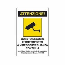 Targa Adesiva Videosorveglianza CCTV 200x300mm lucida
