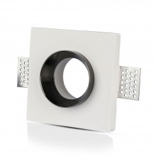 V-TAC VT-866 plafond carré gypse blanc encastré avec finition en métal chrome pour led GU10-GU5.3 - SKU 3149
