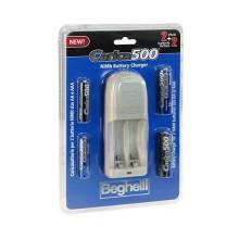 Kit chargeur de batterie compact avec 2pcs AA 1500mAh + 2pcs AAA 800mAh Beghelli Carica500