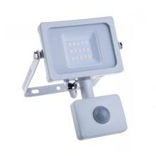 V-TAC PRO VT-10-S projecteur LED 10W chip samsung smd avec sensor PIR 6400K slim blanc IP65 - SKU 435