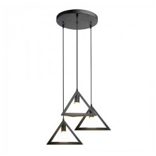 Trio Geometric Black Pendant Light 3xE27 1MT With Black Canopy Ф250mm VT-7144 – SKU 3927