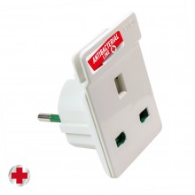 Adapter from European plug shuko S31 to UK plug Antibacterial by Biocote against 99% of viruses