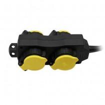 V-TAC VT-1124-3 outdoor socket power Strip 4 Schuko Outlet 16A EU standard 3mt cable IP44 - sku 8814