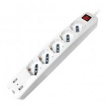 V-TAC Multipresa ciabatta 5 posti bipasso/schuko presa tedesca 10/16A + 2 prese USB cavo 1,5mt interruttore luminoso - sku 8715