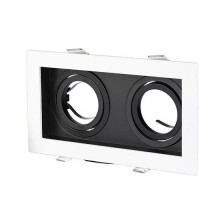 V-TAC VT-886 GU10-GU5.3 Fitting Aluminium white+black square 30°Adjustable for 2*Spotlights - SKU 8877