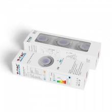 KIT super saver pack V-TAC VT-4444 3pcs/pack 5W LED spot birne GU10 6400K mit Befestigung nickel satiniert Körper verstellbar - sku 8886