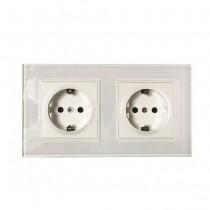 V-TAC VT-5811 2x16A 250V double EU sockets standard german plastic and glass white IP20 - sku 8402
