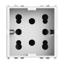 Presa di corrente multistandard 2P+T 16A 250V 1 Schuko o 2 Bipasso per serie Vimar Plana colore bianco Side 4Box 4B.V14.H21
