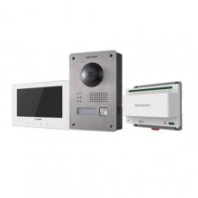 "Hikvision DS-KIS701/EU-W Kit Videocitofonico Monofamiliare 7"" Touch screen 2-Wire Bifilare full hd 1080p fisheye - Bianco"