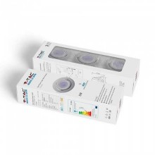 KIT super saver pack V-TAC VT-3333 3pcs/pack 5W led spotlight GU10 6400K with fitting-white body adjustable - sku 8883